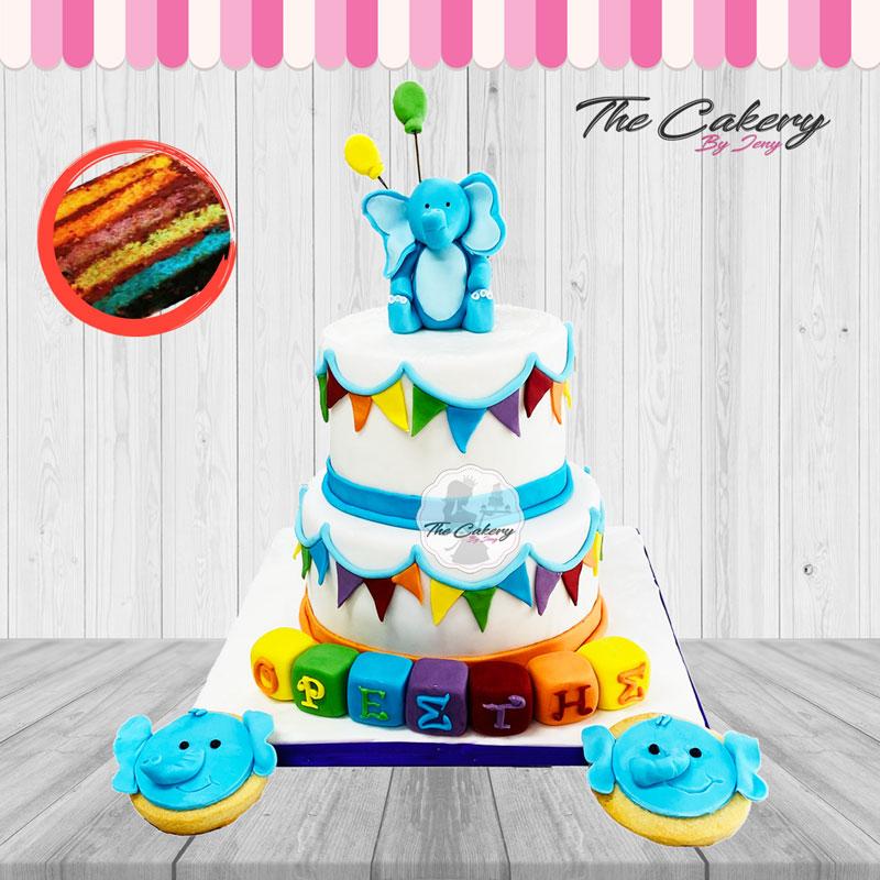 Τούρτα Ελεφαντάκι Rainbow Cake
