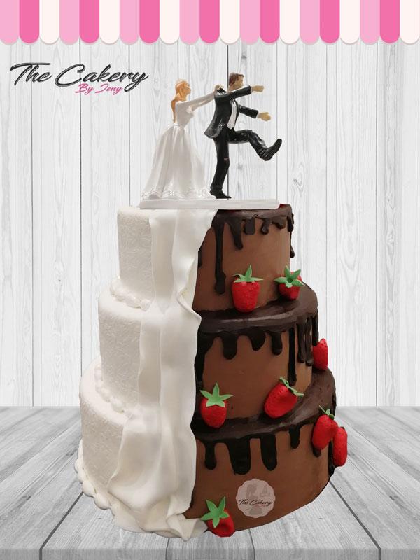 Γαμήλια Τούρτα Δίχρωμη