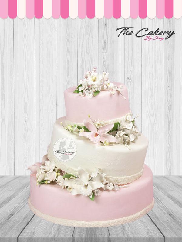 Γαμήλια Τούρτα Ροζ Λευκό